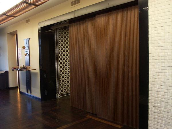 Двери из массива ореха с глянцевым порталом