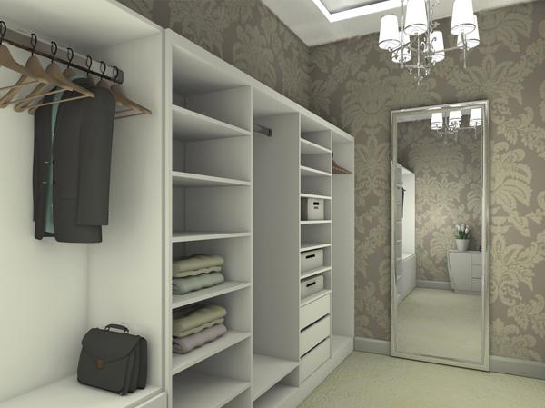 Гардеробная комната с открытыми шкафам