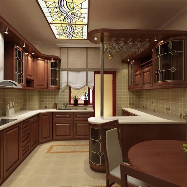 Кухня с поворотам и подсветкой