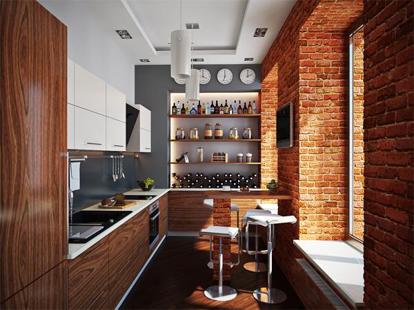 кухня шпонированная орехом
