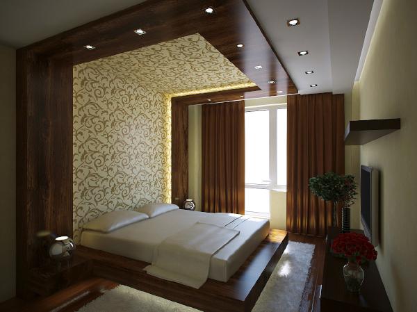 Кровать шпонированная с подсветкой