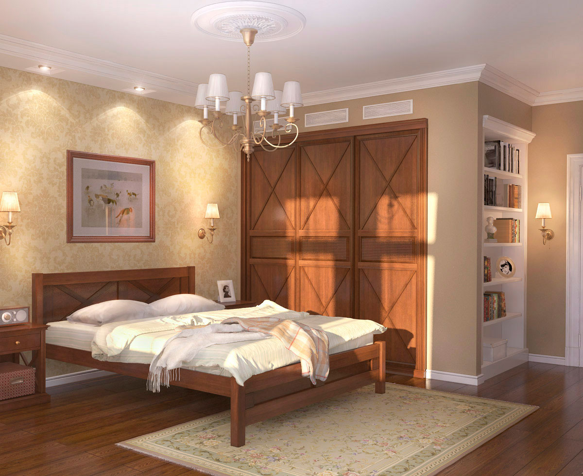 шкафы из натурального дерева в спальне