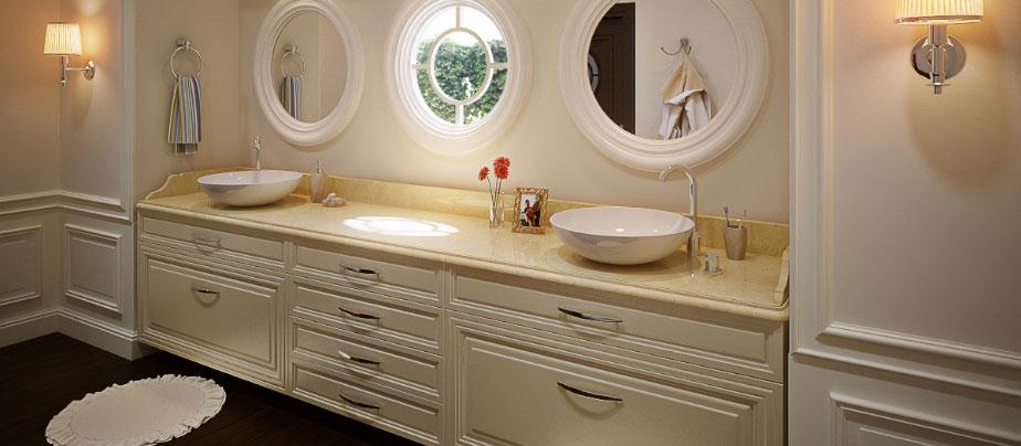 Мебель ванной комнаты частного дома