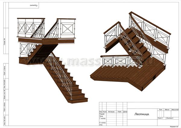 чертёж лестницы на второй этаж