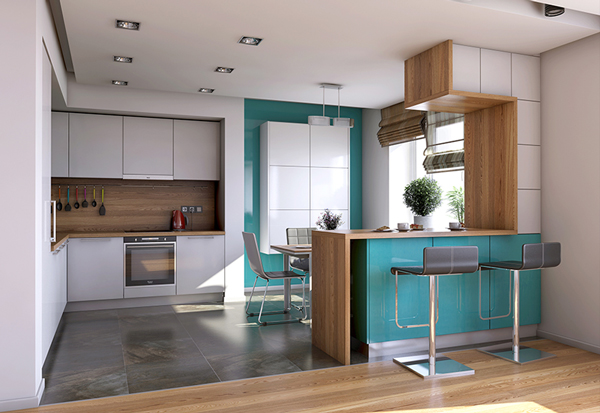 Барныя стойка на кухне